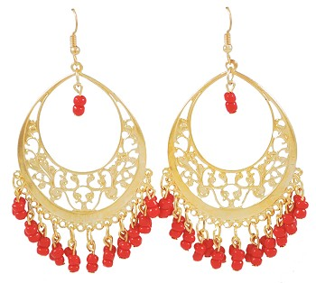 Gold Filigree Hoop Earrings with Beaded Accents - RED