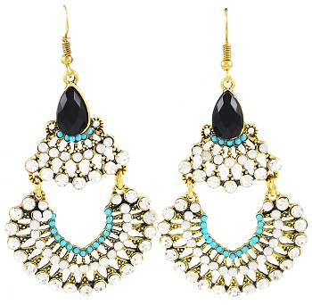 Royal Palace Arabesque Rhinestone Belly Dance Costume Earrings