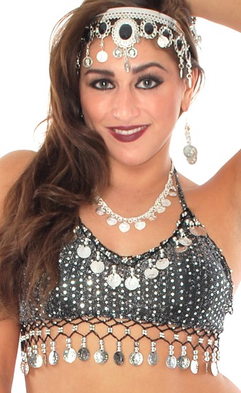 Sparkle Belly Dance Costume Top with Coins - BLACK / SILVER