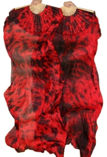 Silk Fan Veils - Set of 2 - Tie Dye - DRAGONS BLOOD