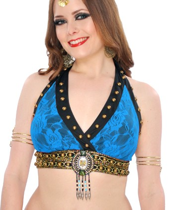 Tribal Fusion Studded Lace Halter Bra - BLUE TURQUOISE