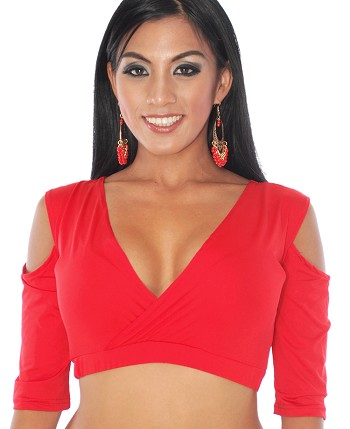 Open Shoulder Half Top Choli - RED