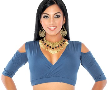 Open Shoulder Half Top Dance Choli - CARRIBEAN BLUE