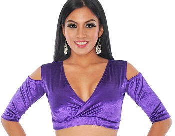 Open Shoulder Velvet Half Top Choli - PURPLE