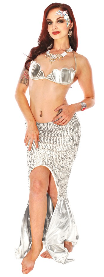 2-Piece Sexy Metallic Sequin Cosplay Mermaid Costume - SILVER
