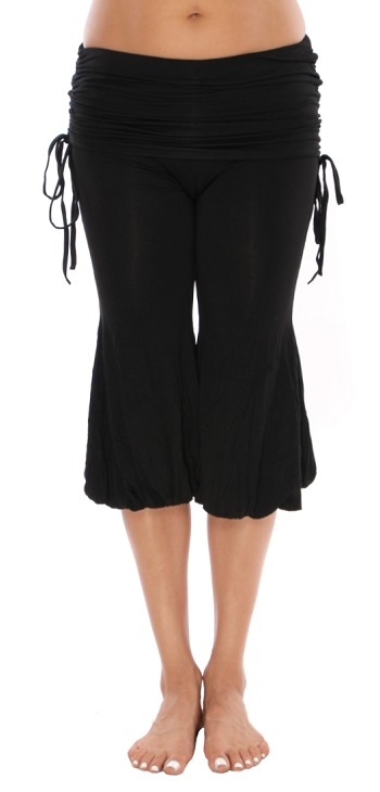 Harem Capri Pants with Ruched Overskirt - BLACK