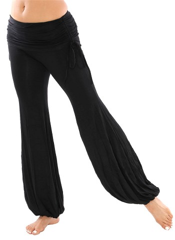 Comfortable Belly Dance Fusion Harem Pants with Ruched Overskirt - BLACK
