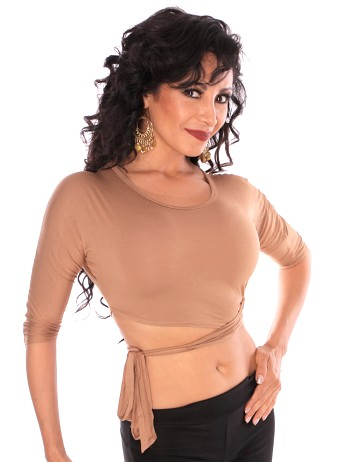 3/4 Sleeve Criss-Cross Tie Top Choli - SAND