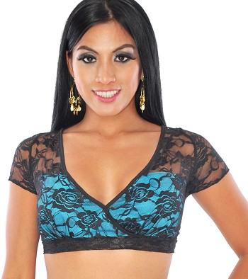 2-Layer Gypsy Lace Tribal Choli Half-Top - BLACK / TURQUOISE