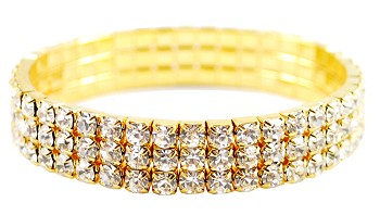 Elegant 3-Row Rhinestone Stretch Bracelet - GOLD