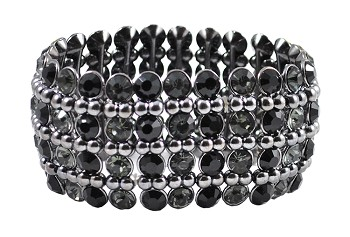 Four-Row Crystal Rhinestone Stretch Bracelet - BLACK / HEMATITE