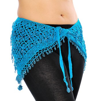 CAIRO COLLECTION: Egyptian Beaded Crochet Hip Wrap - TURQUOISE