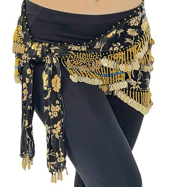 CAIRO COLLECTION: Floral Metallic Print Hip Scarf - BLACK / GOLD
