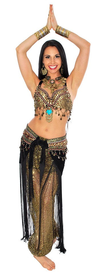 3-Piece Arabia Belly Dance Coin Costume with Harem Pants