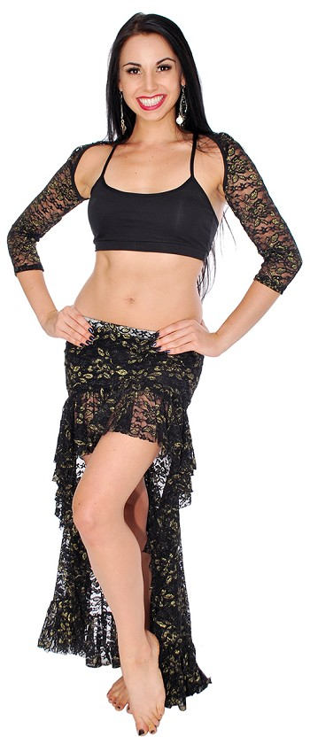 Lace Tribal Fusion Belly Dance Skirt & Shrug Costume Set - BLACK / GOLD