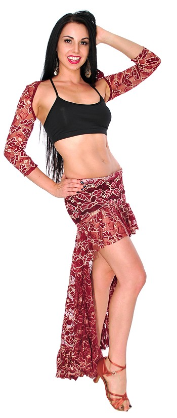 Lace Belly Dance Skirt & Shrug Costume Set - BURGUNDY / GOLD