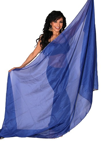 3 Yard Chiffon Belly Dance Veil with Sequin Trim - BLUE / GOLD