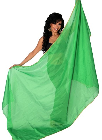 3 Yard Chiffon Belly Dance Veil with Sequin Trim - GREEN / GOLD