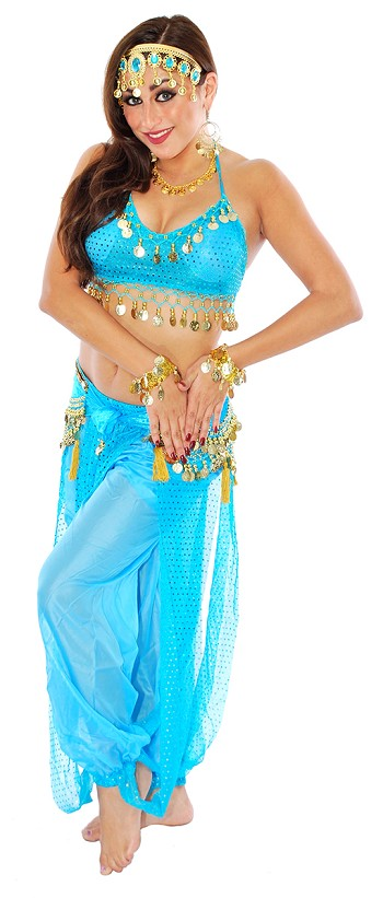 Sparkle Harem Genie Belly Dancer Costume - TURQUOISE
