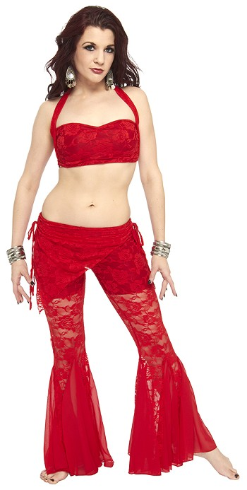 Tribal Fusion Lace Pant Set - RED