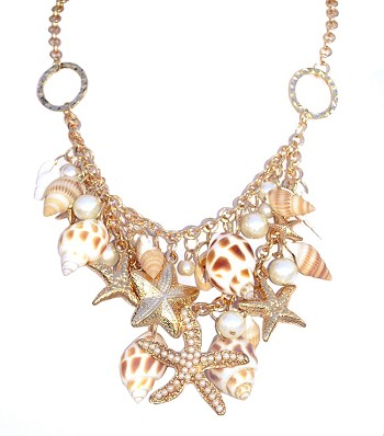 Sea Shell & Pearl Mermaid Statement Beachwear Necklace