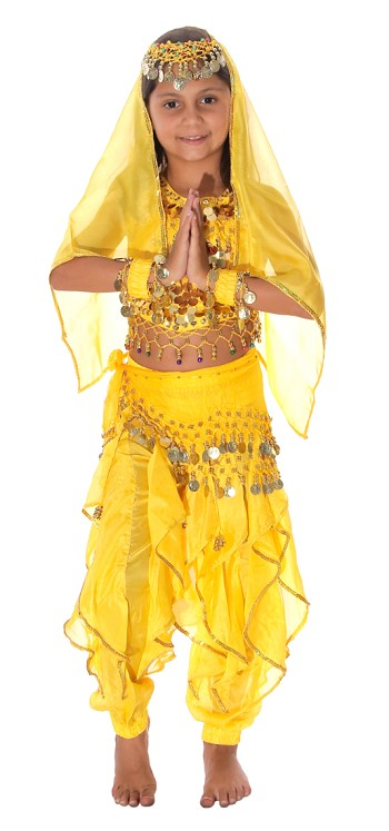 Little Girls Endless Waves Arabian Princess Bollywood Costume - YELLOW