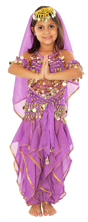 Little Girls Bollywood Princess Belly Dancer Costume - PURPLE