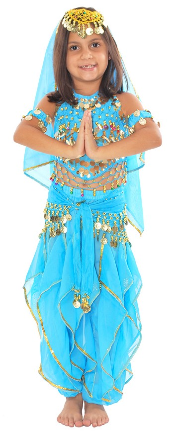 Little Girls Bollywood Princess Belly Dancer Costume - TURQUOISE