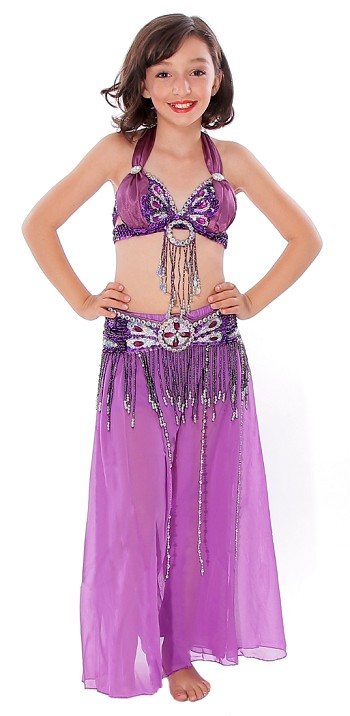 Kids Beaded Satin Belly Dance Costume with Sequin Butterfly Design - PURPLE