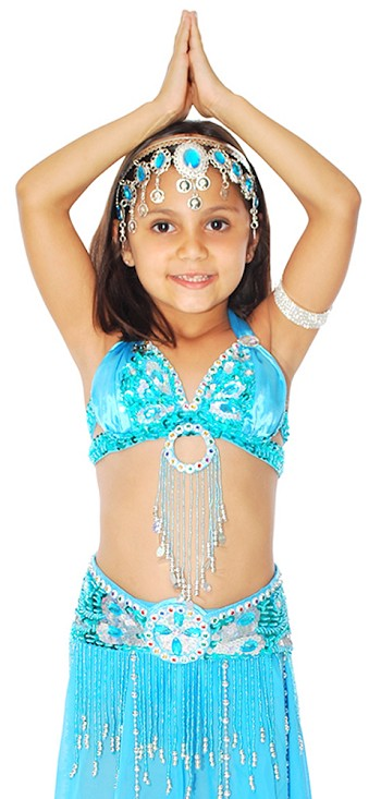 Little Girls Beaded Butterfly Satin Belly Dance Costume Top and Belt Set - TURQUOISE