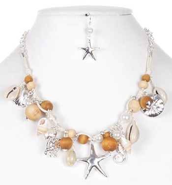 Sea Shell Beaded Charm Necklace Set - NATURAL