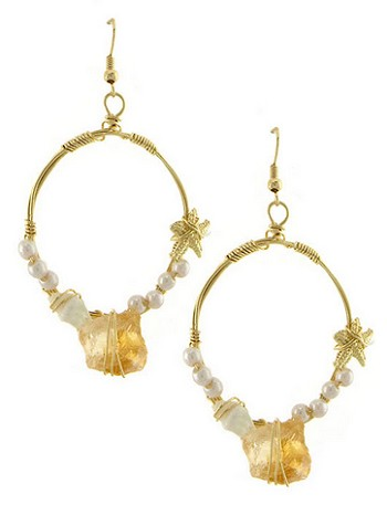 Golden Stone and Pearl Mermaid Hoop Earrings - NATURAL