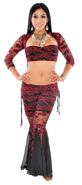3-Piece Floral Lace Tribal Fusion Outfit - BLACK / RED