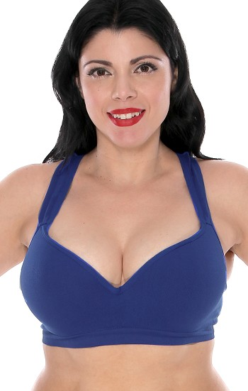 Plus Size Seamless Racerback Push up Bra - ROYAL BLUE