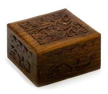Ornate Hand-Carved Wooden Zill or Jewelry Box