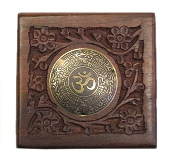 Hand-Carved Shisham Wood Zill or Jewelry Box with Om Medallion