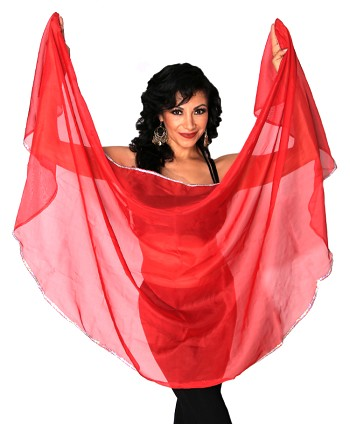 Petite Semi-Circle Chiffon Belly Dance Veil with Sequin Trim - RED / SILVER