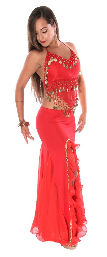 Egyptian Style Chiffon and Coin Belly Dance Costume - RED / GOLD
