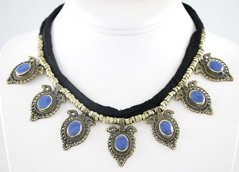 Afghani Tribal Choker with Marquis Lapis Pendants