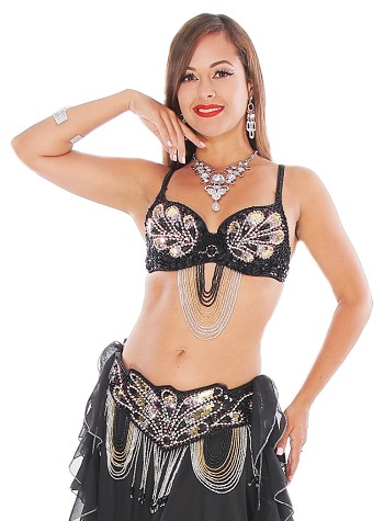 Art Deco Professional Belly Dance Costume Set with Beads & Rhinestones - BLACK / FUCHSIA