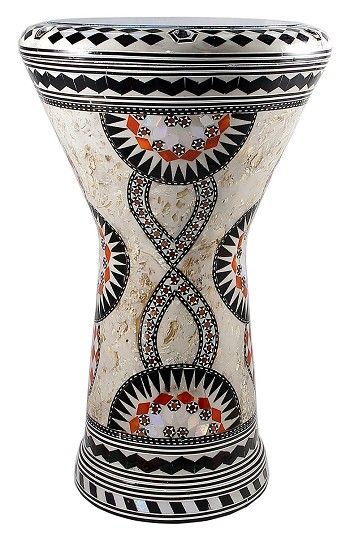 Doumbek/Tabla (Egyptian Drum) with Mother of Pearl Mosaic Inlays - YA AMAR
