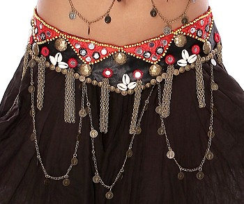 Tribal Belly Dance Belt with Shisha Mirrors, Coins, and Shells