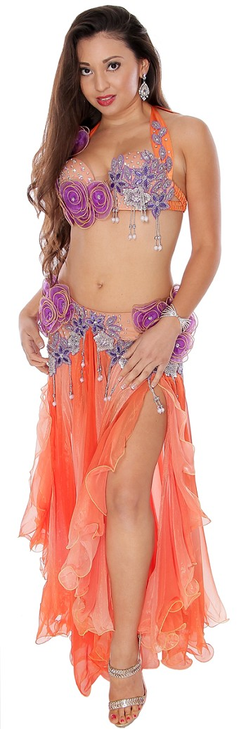 Professional Egyptian Style Belly Dance Costume with Flowers - ORANGE / PURPLE