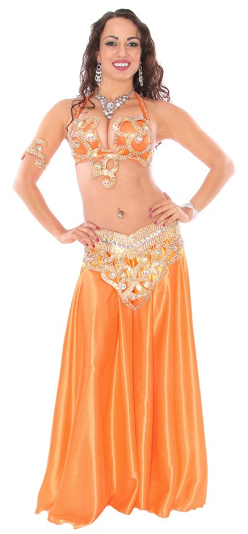 CAIRO COLLECTION: Rhinestone & Crystal Professional Belly Dance Costume From Egypt - ORANGE / GOLD