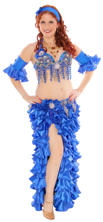 CAIRO COLLECTION: Professional Belly Dance Costume from Egypt - ROYAL BLUE RUFFLE