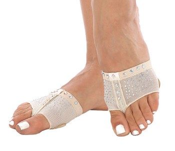 Fabric Dance Half-Sole Shoe with Rhinestones - LIGHT NUDE