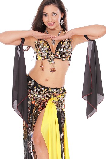 CAIRO COLLECTION: Professional Belly Dance Costume from Egypt - BLACK / YELLOW FLORAL