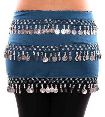 3-Row Straight Design Classic Belly Dance Coin Hip Scarf - TEAL BLUE / SILVER