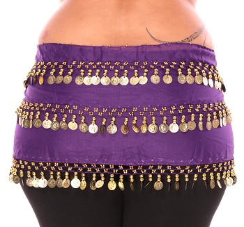 1X - 4X Plus Size Chiffon Belly Dance Hip Scarf Sash with 3 Rows of Coins - PURPLE GRAPE / GOLD