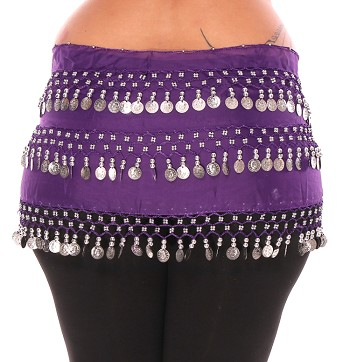1X - 4X Plus Size Chiffon Belly Dance Hip Scarf Sash with 3 Rows of Coins - PURPLE GRAPE / SILVER